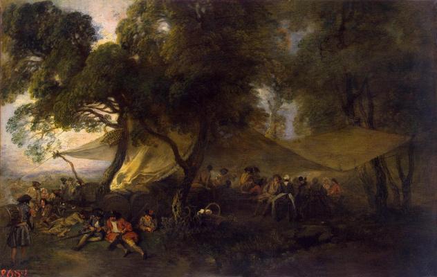 Antoine Watteau. Military respite