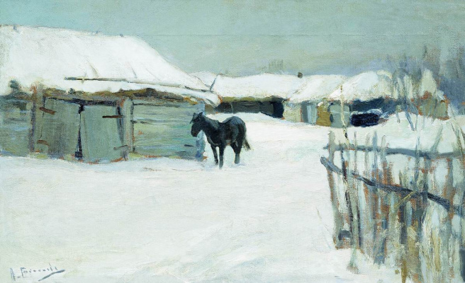 Alexey Stepanovich Stepanov. The village in winter
