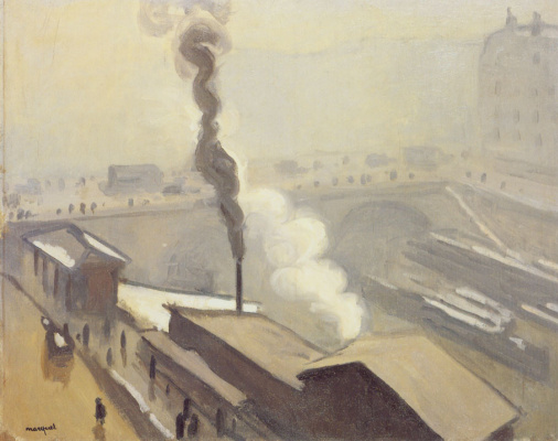 Albert Marquet. Winter view of Paris with Saint Michel bridge