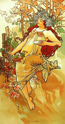 Savely Kamsky. Copy of the picture of Alfons Mucha Autumn. Episode Seasons