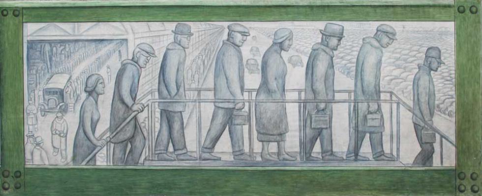 Диего Ривера. Панно, изображающее рабочих, стоящих в очереди за зарплатой