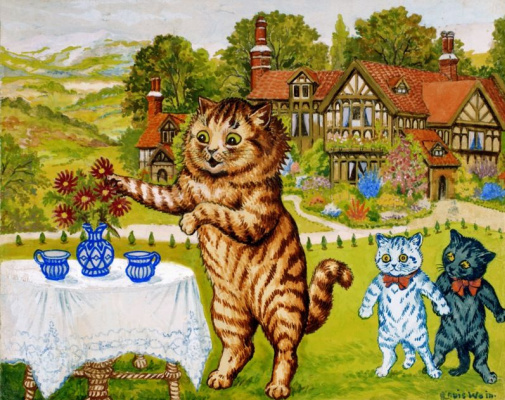 Louis Wain. Two jugs of milk