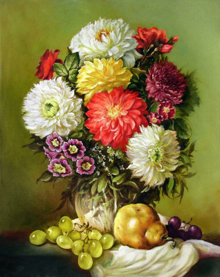 Vladimir Shtykov. Still Life with Flowers and Fruits