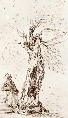 John Constable. The tree and the figure; sketch in ham, Surrey