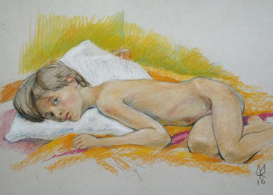 Сергей Константинович Малютов. Лежащий мальчик