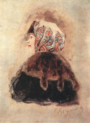 "Vasily Ivanovich Surikov. Head of boyaryshnya. A sketch for the painting ""the Capture of snow town"""