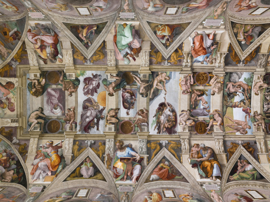 Michelangelo Buonarroti. Partial view of the ceiling fresco of the Sistine chapel