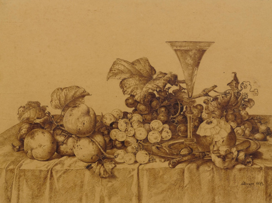 Иоганн Вильгельм Прейер. Натюрморт с фруктами, шампанским и оловянным блюдом. 1877