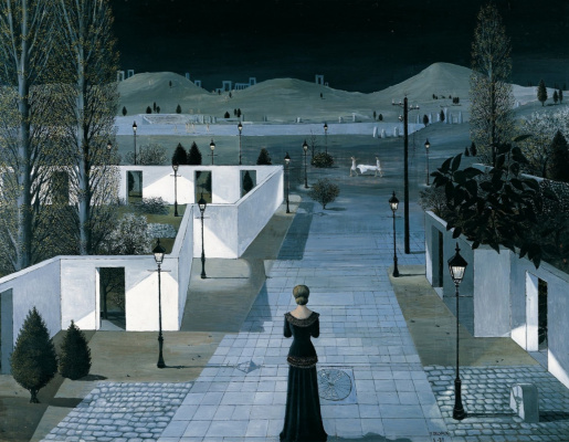 Paul Delvaux Belgium 1897-1994. Landscape with lanterns. 1958 Albertina Gallery, Vienna