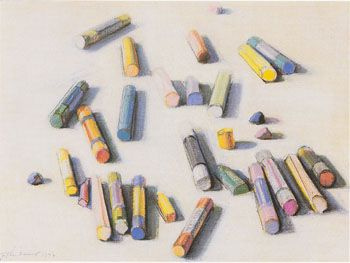 Scattered crayons pastels