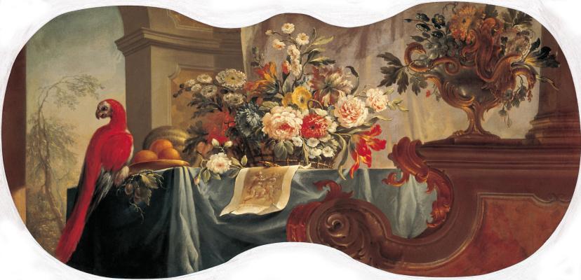 Алексей Иванович Бельский 1726 - 1796. Цветы, фрукты, попугай. 1754