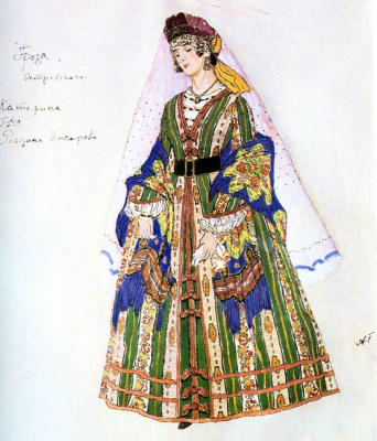 "Alexander Yakovlevich Golovin. Katerina. Costume design for the drama A. N. Ostrovsky ""Thunderstorm"""
