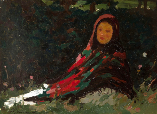 Filipp Andreevich Malyavin. A girl in a colorful scarf