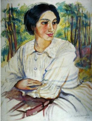 Зинаида Евгеньевна Серебрякова. Портрет О. К. Лансере. Эскиз