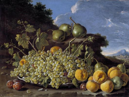 Луис Мелендес. Натюрморт с миской винограда, персиков, груш и слив на фоне пейзажа