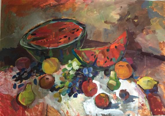 Katetemy. Still life with watermelon