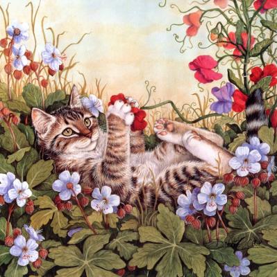 Дебби Кук. Кот играет в цветах