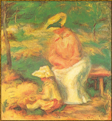 Pierre-Auguste Renoir. Woman and child in the garden