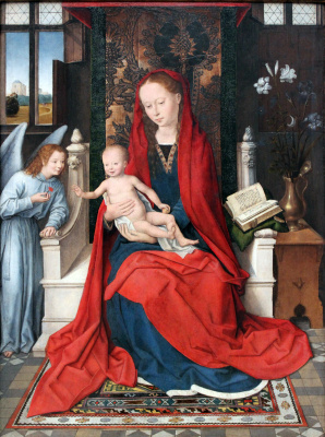 Hans Memling. Madonna and child with an angel