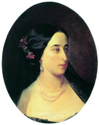 Ivan Kuzmich Makarov. Portrait of Maria Alexandrovna Hartung, born Pushkin. 1860