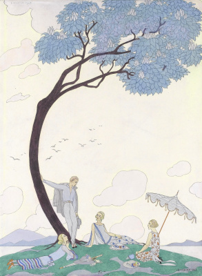 Georges Barbier. On the grass