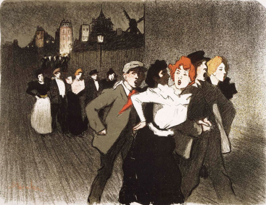 Theophile-Alexander Steinlen. On the street (Lovers and mistresses)