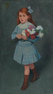 Федерико Дзандоменеги. Девочка с цветами в руках