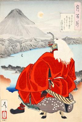 """Цукиока Ёситоси. Луна на побережье в Киёми, у полуострова Михо. Серия """"100 видов луны"""""""