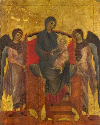 Ченни ди Пепо Чимабуэ. Дева с младенцем на троне с двумя ангелами