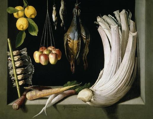 Натюрморт с убитой птицей, фруктами и овощами