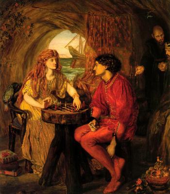 Люси Мэдокс Браун. Миранда и Фердинанд играют в шахматы