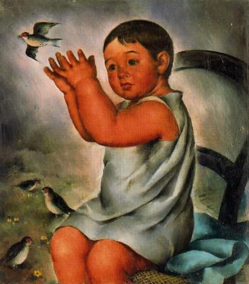 Педро Санчес. Ребенок ловит птенца