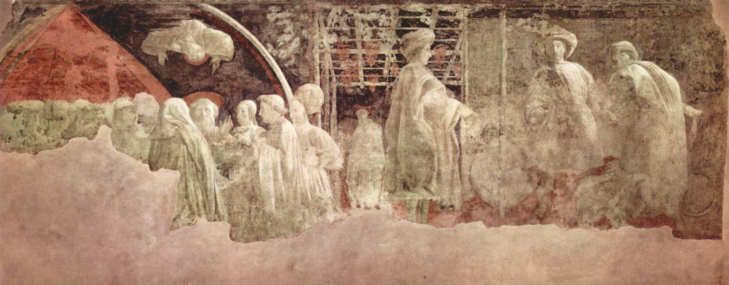 Paolo Uccello. The cycle of frescoes on the theme of the old Testament in a cloister of Santa Maria Novella in Florence. Thanksgiving sacrifice, drunkenness of Noah