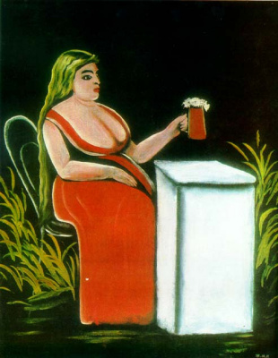 A woman with a beer