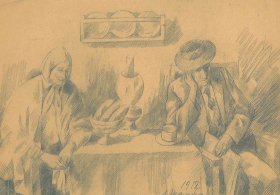 Amshey Markovic Nuremberg. Woman and man at the table. Museum of Fine Arts. Pushkin
