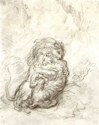 Eugene Delacroix. A fight between a lion and a tiger