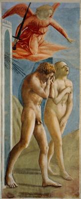 Tommaso Masaccio. Brancacci Chapel. The expulsion of Adam and Eve from the Garden of Eden