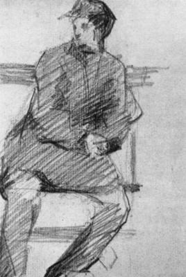 Жорж Сёра. Молодой человек на скамейке
