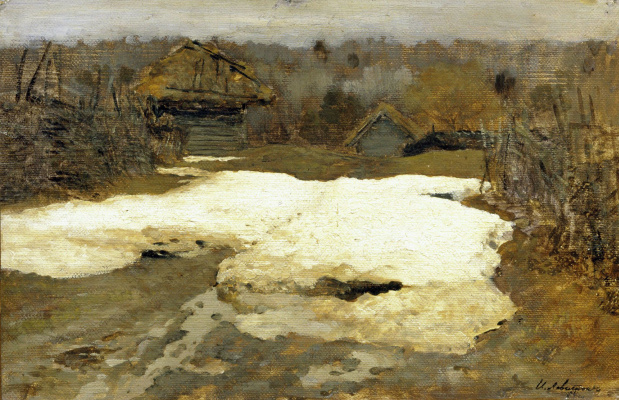 "Isaac Levitan. The last snow. Savvinskaya Sloboda. A sketch for the painting ""Last snow"""