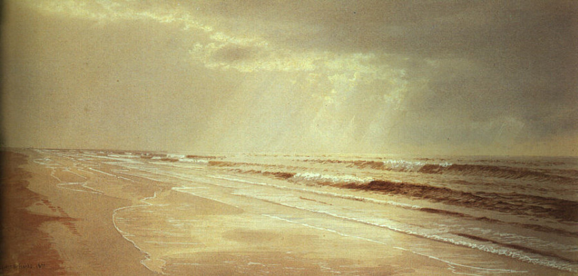 William Trost Richards. Beach with waves, painted by the sun