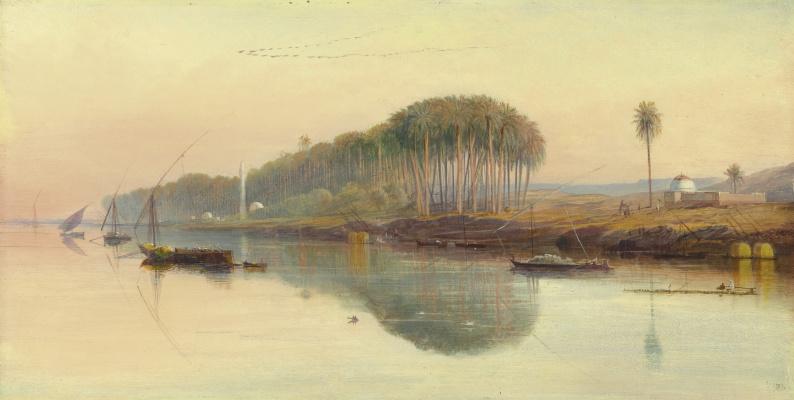 Эдвард Лир. Fishing boats on the Nile