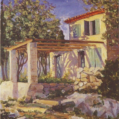 Winston Churchill. The gardener's house on the estate of Madame Balzan.