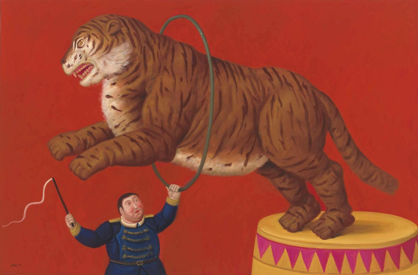 Fernando Botero. Tiger and trainer