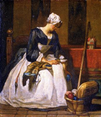 Жан Батист Симеон Шарден. Вышивальщица (первоначальный вариант картины)