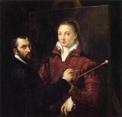 Sofonisba Angisola. Self-portrait with artist Bernardino Campi