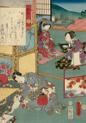 """Утагава Кунисада. Глава 36. Касиваги - дуб. Иллюстрации к главам """"Повести о Гэндзи"""""""