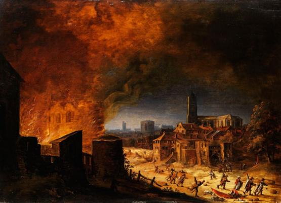 Хендрик Аверкамп. Бегство из горящего города