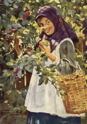 Ivan Goryushkin-Sorokopudov. The girl with the apples. 1920