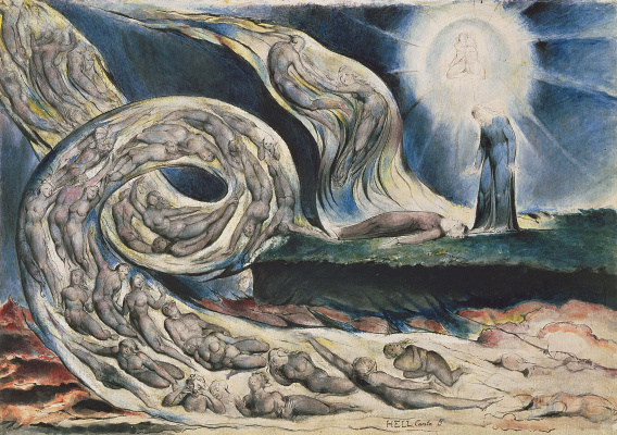 "William Blake. Circle of lust: Francesca da Rimini. Illustrations for ""the divine Comedy"""