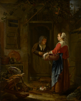Franz van Miris the Elder. The girl who sells grapes to the old woman